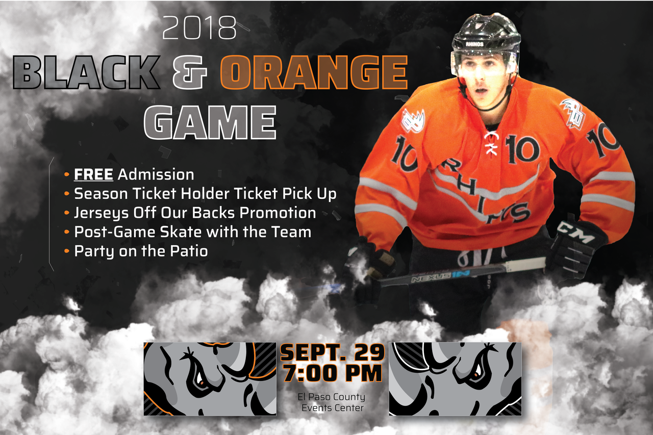 Rhinos Black And Orange Game Western States Hockey League