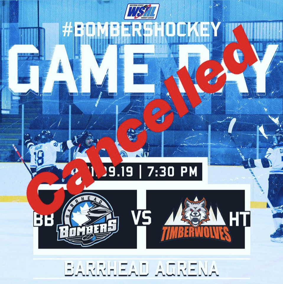 Bombers Vs Hinton Cancelled Western States Hockey League