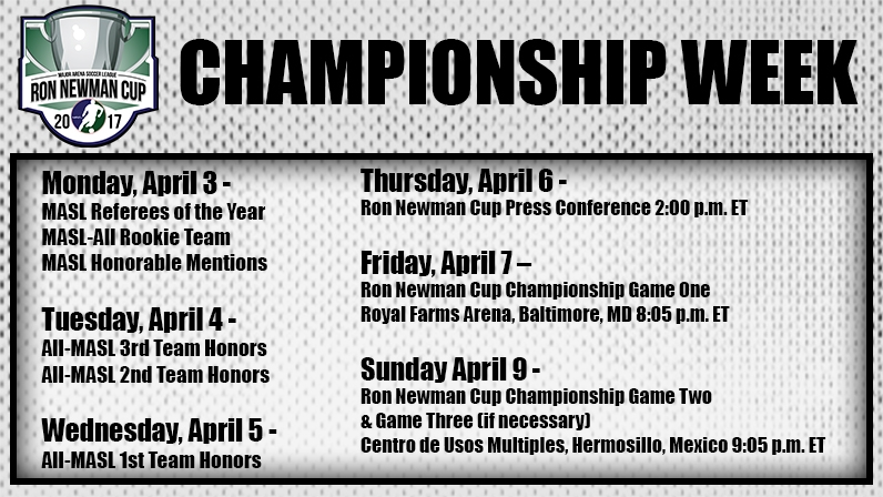 RON NEWMAN CUP CHAMPIONSHIP WEEK SCHEDULE - Major Arena