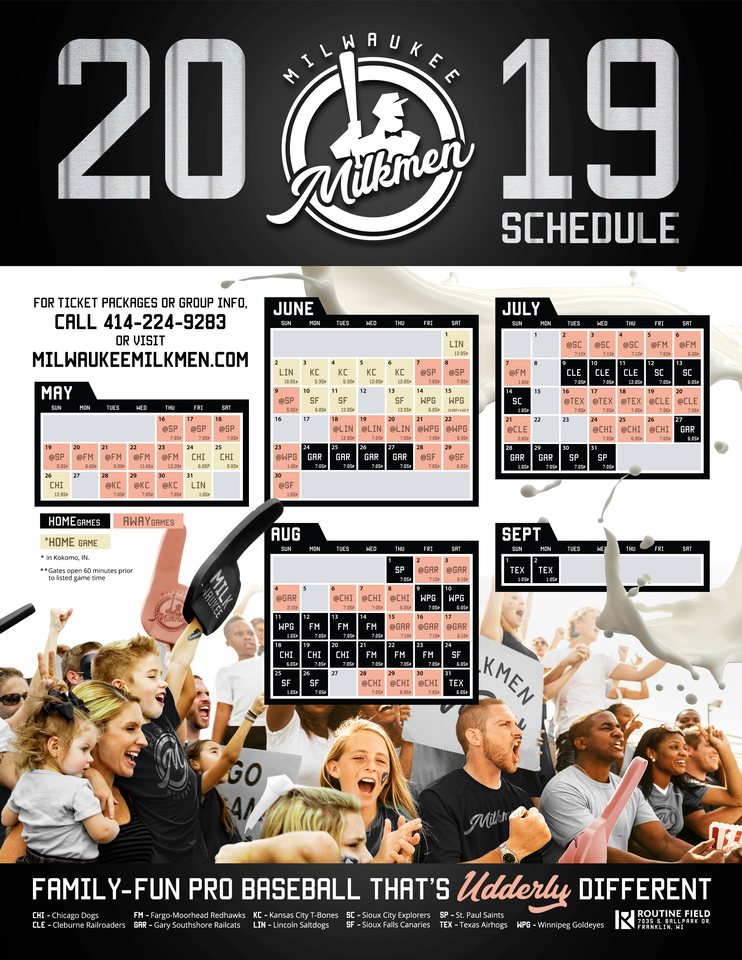 graphic relating to Flyers Printable Schedule known as Printable Routine - Milwaukee Milkmen