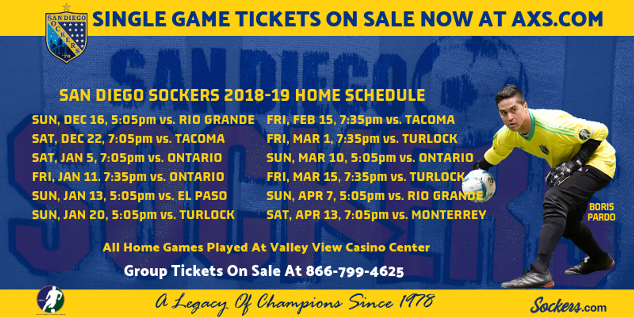 Sockers Announce 24-Game 2018-19 MASL Schedule - San Diego