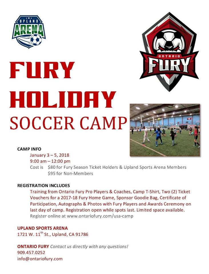 Holiday Soccer Camp Jan 3 5 Tario Fury