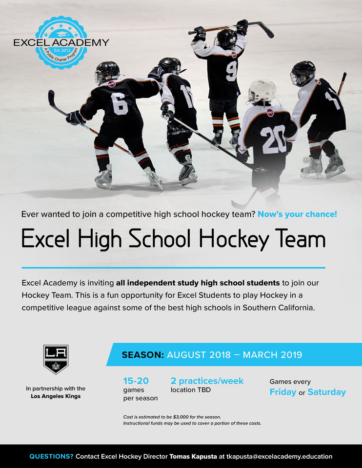 La Kings Excel Academy High School Hockey Team Junior Reign Youth